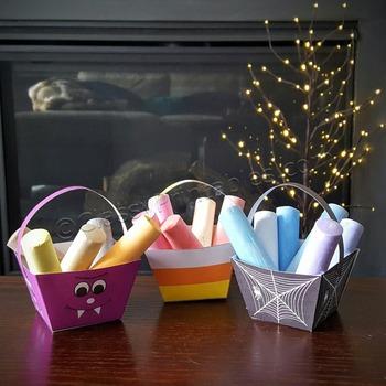 Halloween crafts activities treat/crayon baskets FREE fact