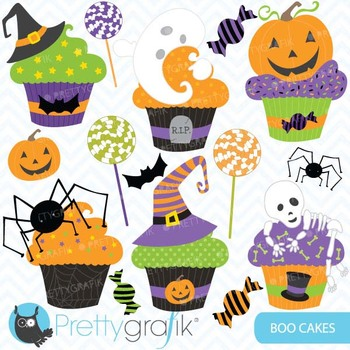 Halloween cupcake clipart commercial use, vector graphics - CL564