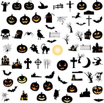 Halloween elements silhouette digital clipart