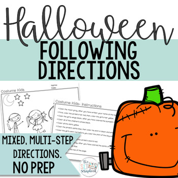 Halloween Following Directions Coloring Pack- No Prep