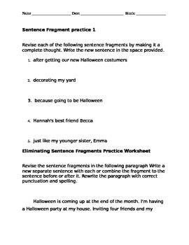 Halloween fragment sentences