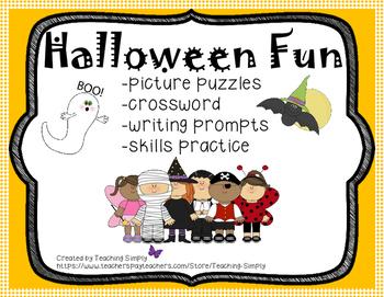 Halloween Fun - Puzzles, Creative Writing, Phonics and Ski