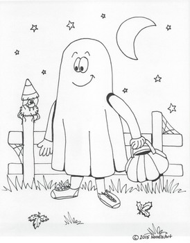 Halloween ghost coloring page