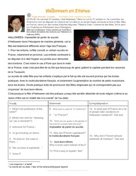 Halloween in France - French II Reading & Comprehension Questions
