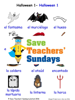 Halloween in Spanish Worksheets, Games, Activities and Fla