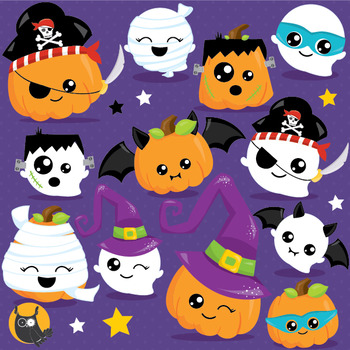 Halloween kawaii clipart commercial use, vector graphics,