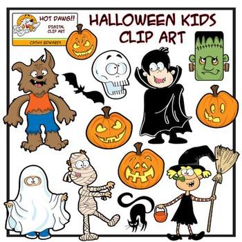 Halloween kids - Digital clip art by Hot Dawg Illustration