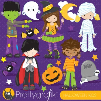 Halloween kids clipart commercial use, vector graphics, di