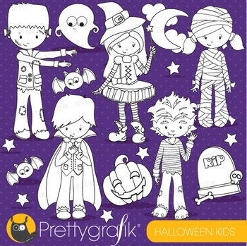 Halloween kids stamps commercial use, vector graphics, ima