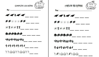 Halloween math patterning - French and English