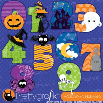 Halloween numbers clipart commercial use, graphics, digita