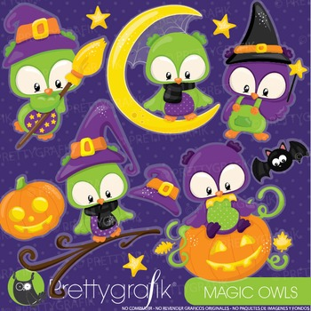 Halloween owls clipart commercial use, graphics, digital c