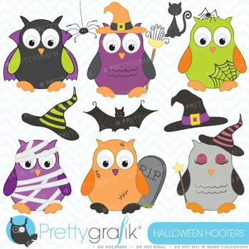 Halloween owls clipart commercial use, vector graphics, di
