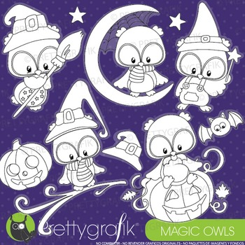 Halloween owls stamps commercial use, vector graphics, ima