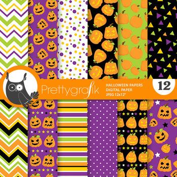 Halloween pumpkin papers, commercial use, scrapbook papers