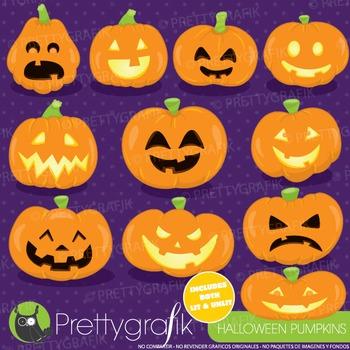 Halloween pumpkins clipart commercial use, graphics, digit