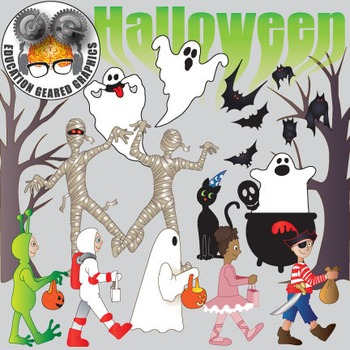 Halloween trick or treat, clip art for classroom or commer