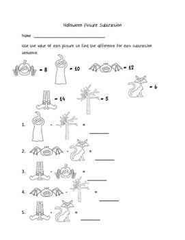 Halloween Activities first and second grade - subtraction