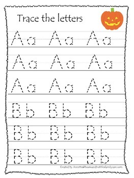 Halloween themed A-Z Tracing printable preschool worksheet