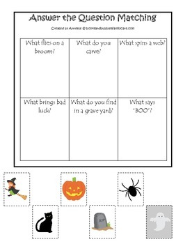 Halloween themed Answer the Question printable preschool l
