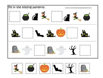 Halloween themed Fill in the Missing Pattern printable pre