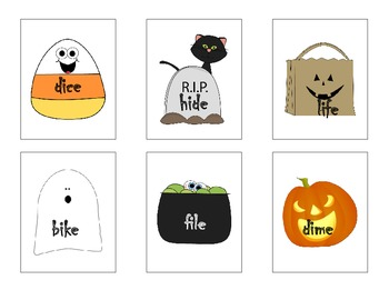 Halloween themed Long I Word Family Games