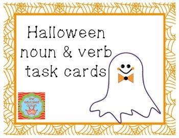 Halloween themed Noun & Verb Task Cards