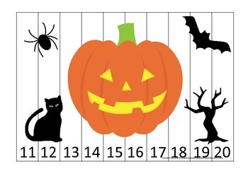 Halloween themed Number Sequence Puzzle 11-20 printable pr