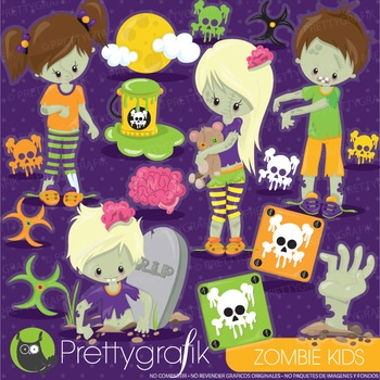 Halloween zombie clipart commercial use, graphics, digital