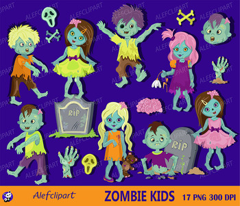 Halloween zombie kids clipart commercial use, zombie digit