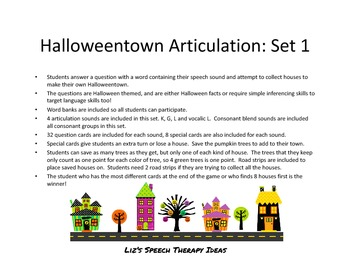 Halloweentown Articulation Inferences Set 1: K, G, L and L vowels