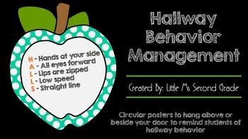 Hallway Behavior Management Posters - Chalkboard Theme
