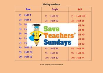 Halving worksheets (3 levels of difficulty)
