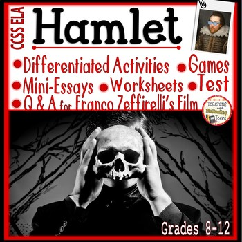 Hamlet Activity Bundle: Mini-Essays, Worksheets, RTI, Film