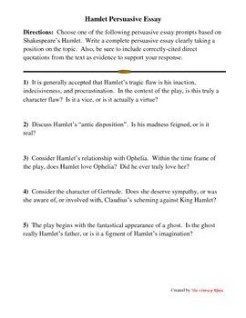 Hamlet Persuasive Essay