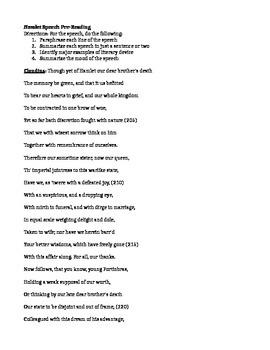 Hamlet PreReading Speech Analysis