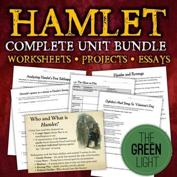 Hamlet Unit Bundle: Worksheets, Projects, Essays, and Handouts