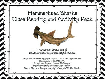 Hammerhead Sharks - Close Reading and Activity Pack