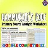 Hammurabi's Code Analysis Worksheet