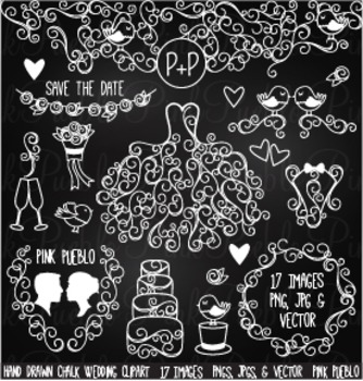 Hand Drawn Chalkboard Wedding Clipart Clip Art - Commercia
