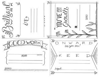 Hand-Drawn Merit Cards