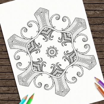 Hand Drawn Printable Coloring Page Kids Mandala Strength C