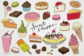 Hand Drawn Sweet Shoppe Clipart - Ice Cream, Candy and Cakes