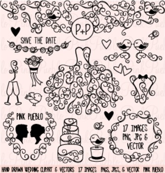 Hand Drawn Wedding Silhouettes Clipart Clip Art - Commerci