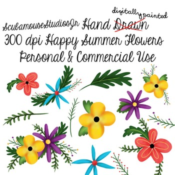 Hand Painted Digital Summer Flowers, 300 dpi commercial us