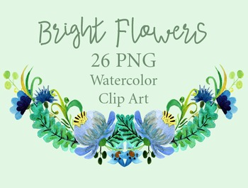 Hand-Painted Watercolor Bright Flowers Clip Art - Digital
