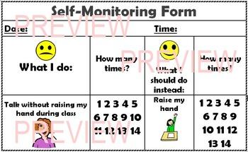 Hand Raising Self Monitoring Form
