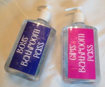 Hand Sanitizer Bathroom Pass Labels