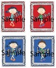 Hand Sanitizer Bottle Labels in Red & Blue for Dual Langua