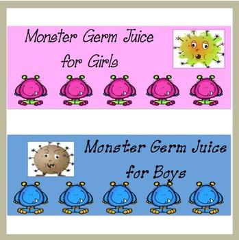 Hand Sanitizer Labels ~ Germ Juice ~ Monsters